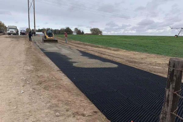 Diamond Grid being covered with gravel